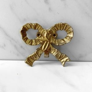 Vintage Gold Brass Bow Wall Hook